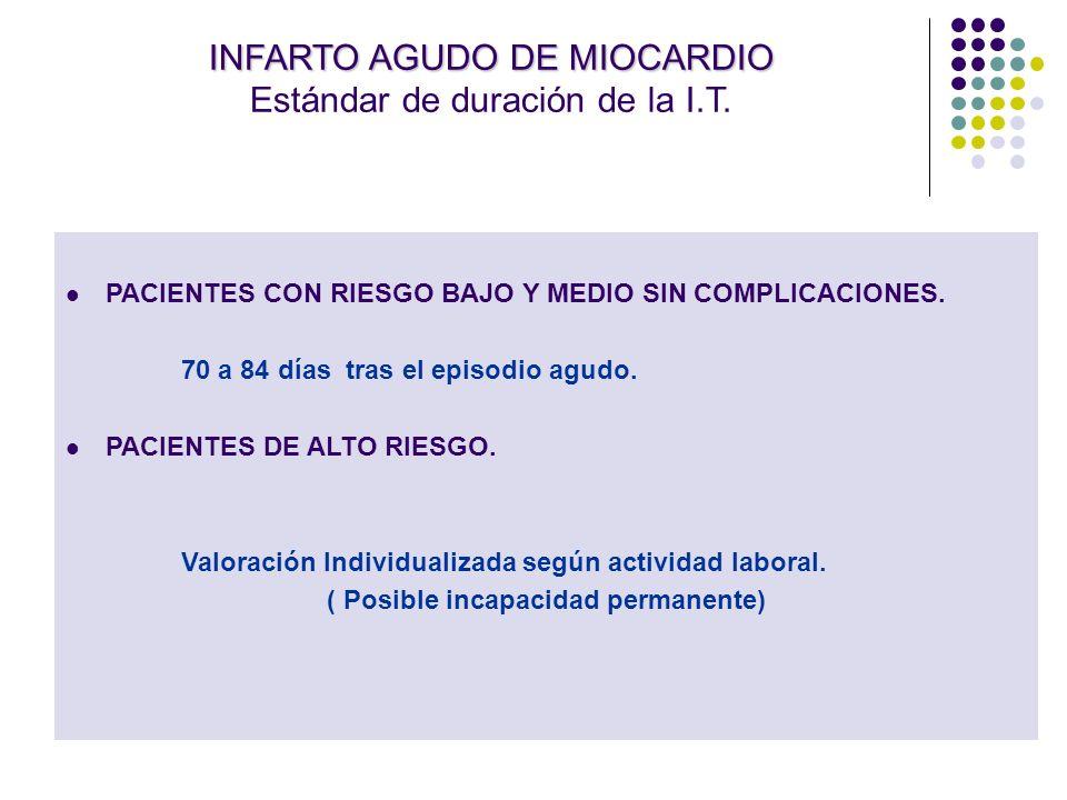 INFARTO AGUDO DE MIOCARDIO INFARTO AGUDO DE MIOCARDIO Estándar de duración de la I.T. PACIENTES CON RIESGO BAJO Y MEDIO SIN COMPLICACIONES. 70 a 84 dí