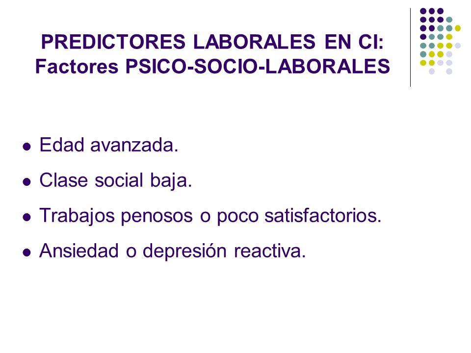 PREDICTORES LABORALES EN CI: Factores PSICO-SOCIO-LABORALES Edad avanzada. Clase social baja. Trabajos penosos o poco satisfactorios. Ansiedad o depre