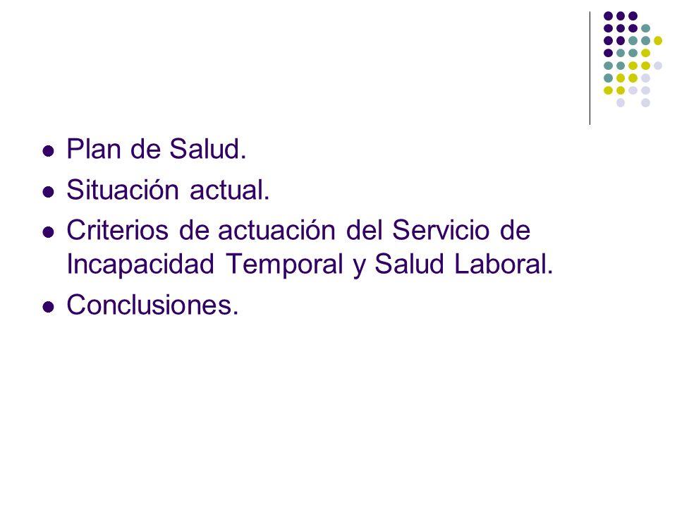 Plan de Salud. Situación actual. Criterios de actuación del Servicio de Incapacidad Temporal y Salud Laboral. Conclusiones.