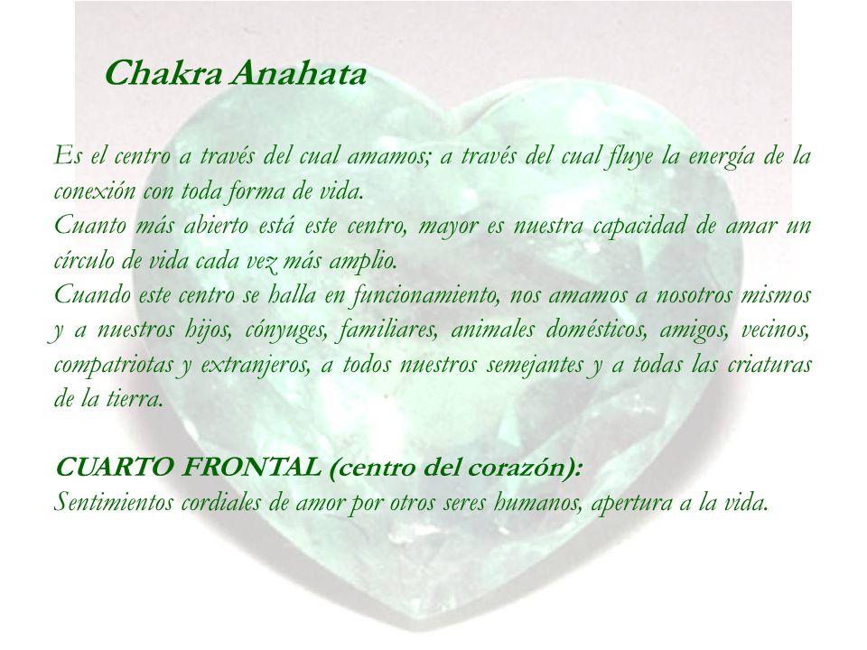 Chakra Anahata Es el centro a través del cual amamos; a través del cual fluye la energía de la conexión con toda forma de vida. Cuanto más abierto est