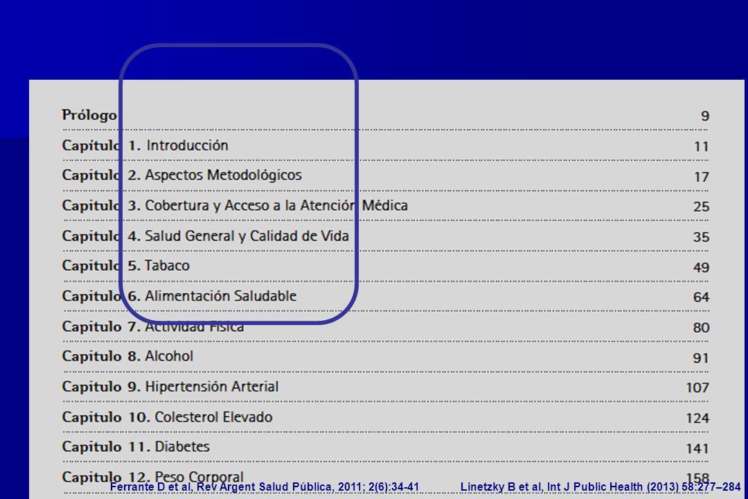 PARAMETROS RELEVANTES: - diagnóstico de diabetes o glucemia elevada (profesional de la salud) - medición de glucemia (alguna vez) - educación formal, ingreso del hogar - situación laboral, cobertura de salud, accesibilidad - actividad física (cuestionario IPAQ) - ingesta de frutas y verduras Ferrante D et al, Rev Argent Salud Pública, 2011; 2(6):34-41