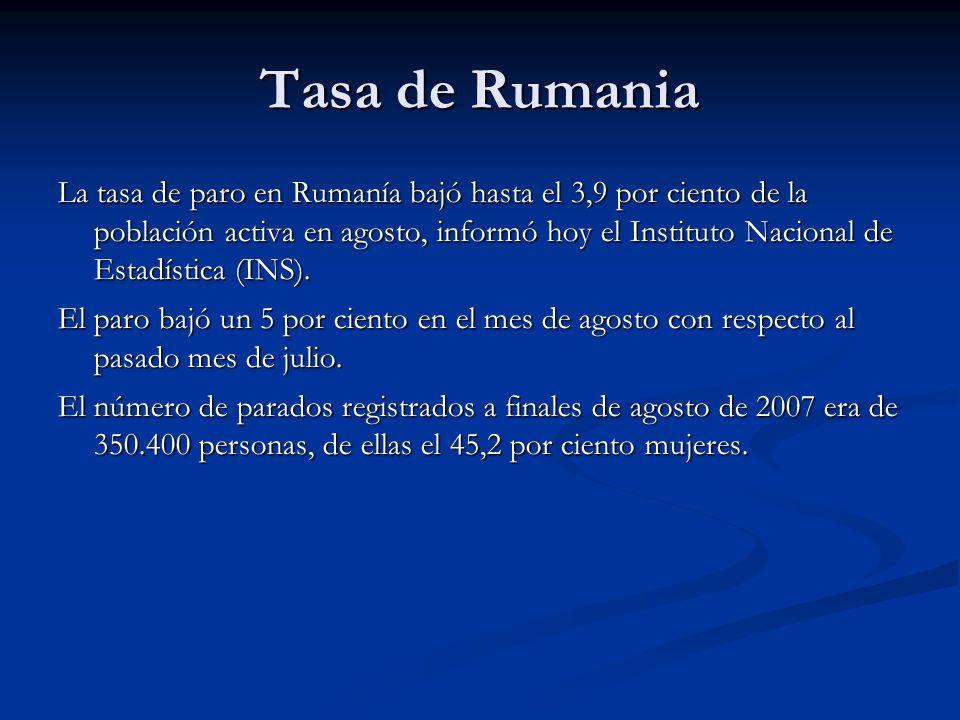 Tasa de Rumania La tasa de paro en Rumanía bajó hasta el 3,9 por ciento de la población activa en agosto, informó hoy el Instituto Nacional de Estadística (INS).