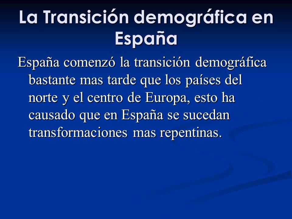 La Transición demográfica en España España comenzó la transición demográfica bastante mas tarde que los países del norte y el centro de Europa, esto ha causado que en España se sucedan transformaciones mas repentinas.