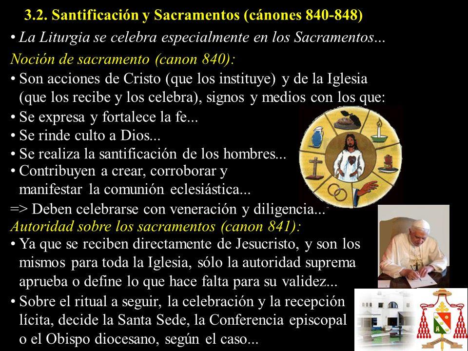 Son acciones de Cristo (que los instituye) y de la Iglesia (que los recibe y los celebra), signos y medios con los que: Noción de sacramento (canon 84