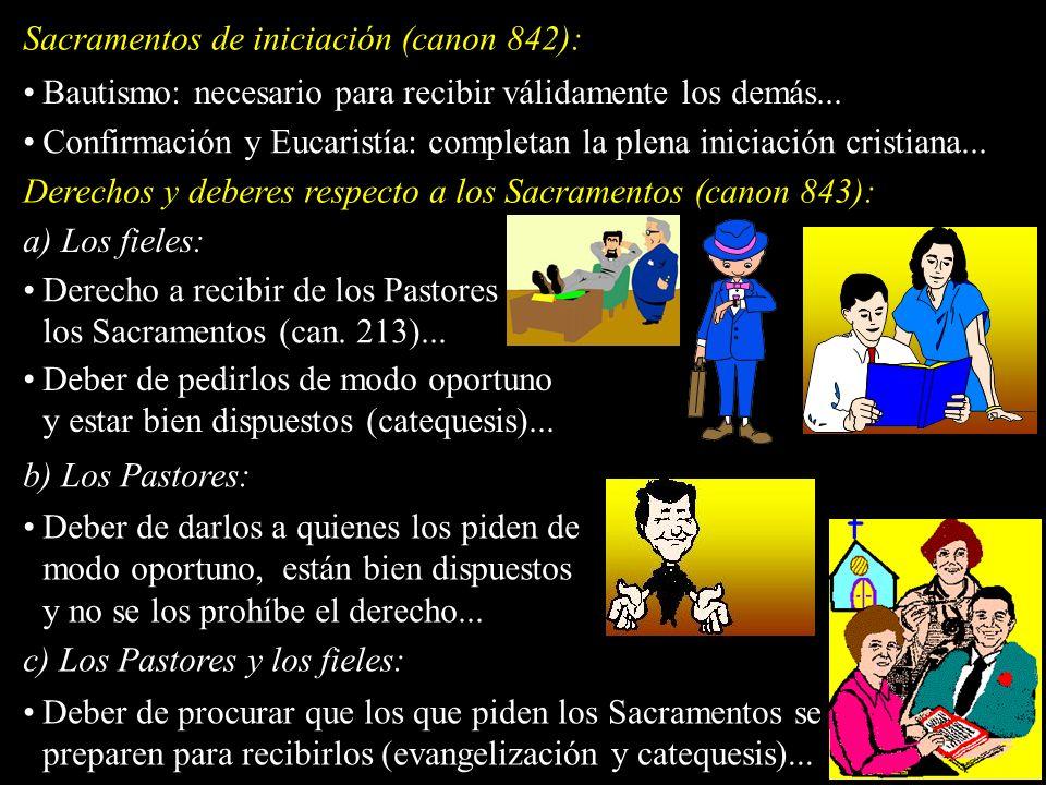 Sacramentos de iniciación (canon 842): Bautismo: necesario para recibir válidamente los demás... Confirmación y Eucaristía: completan la plena iniciac