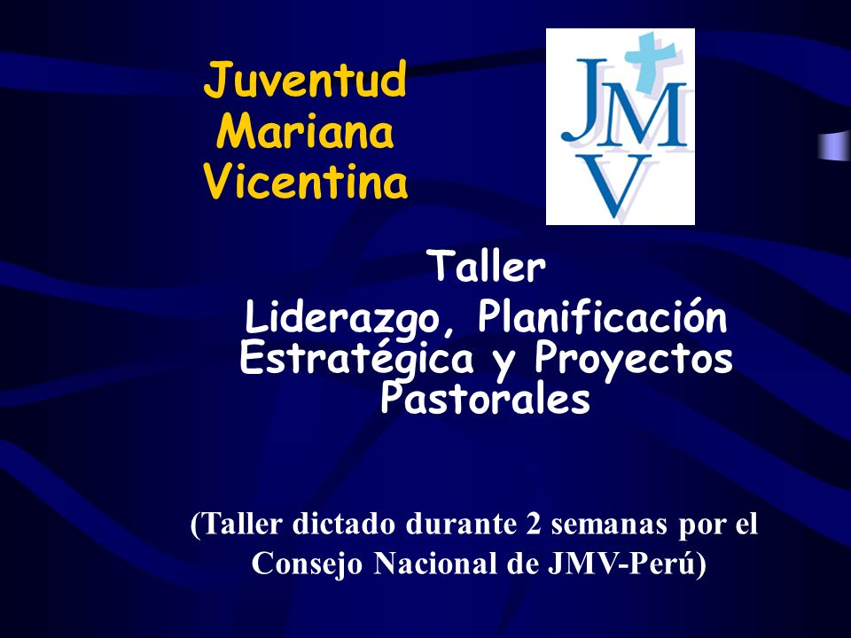 Juventud Mariana Vicentina Taller Liderazgo, Planificación Estratégica y Proyectos Pastorales (Taller dictado durante 2 semanas por el Consejo Nacional de JMV-Perú)