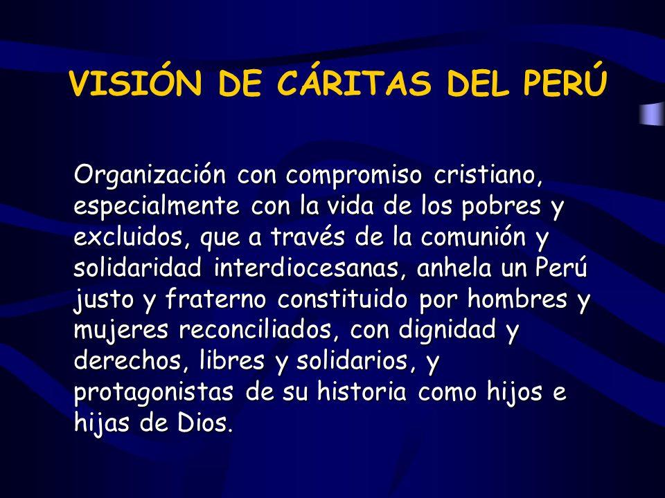 VISIÓN DE CÁRITAS DEL PERÚ Organización con compromiso cristiano, especialmente con la vida de los pobres y excluidos, que a través de la comunión y s