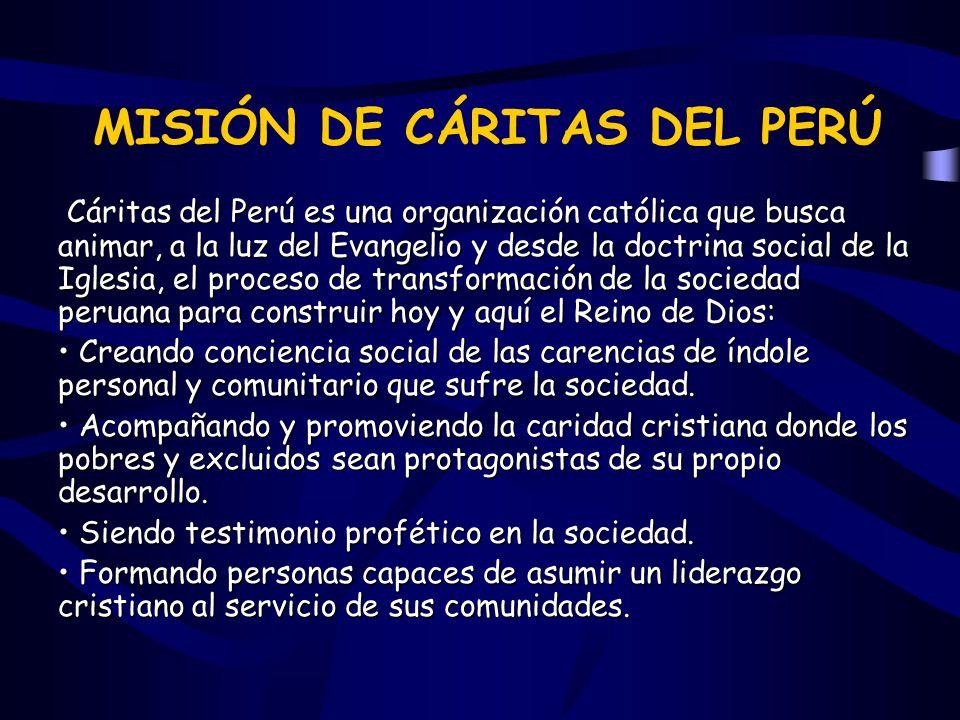 Cáritas del Perú es una organización católica que busca animar, a la luz del Evangelio y desde la doctrina social de la Iglesia, el proceso de transfo