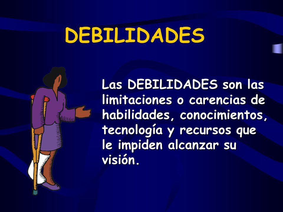 DEBILIDADES Las DEBILIDADES son las limitaciones o carencias de habilidades, conocimientos, tecnología y recursos que le impiden alcanzar su visión.