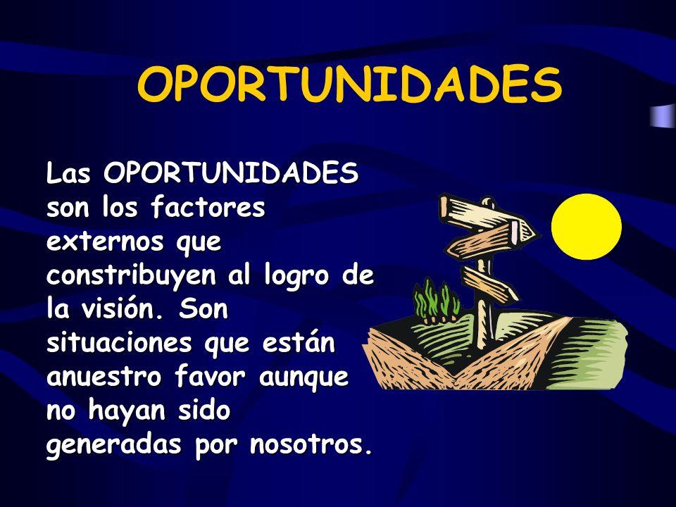 OPORTUNIDADES Las OPORTUNIDADES son los factores externos que constribuyen al logro de la visión.
