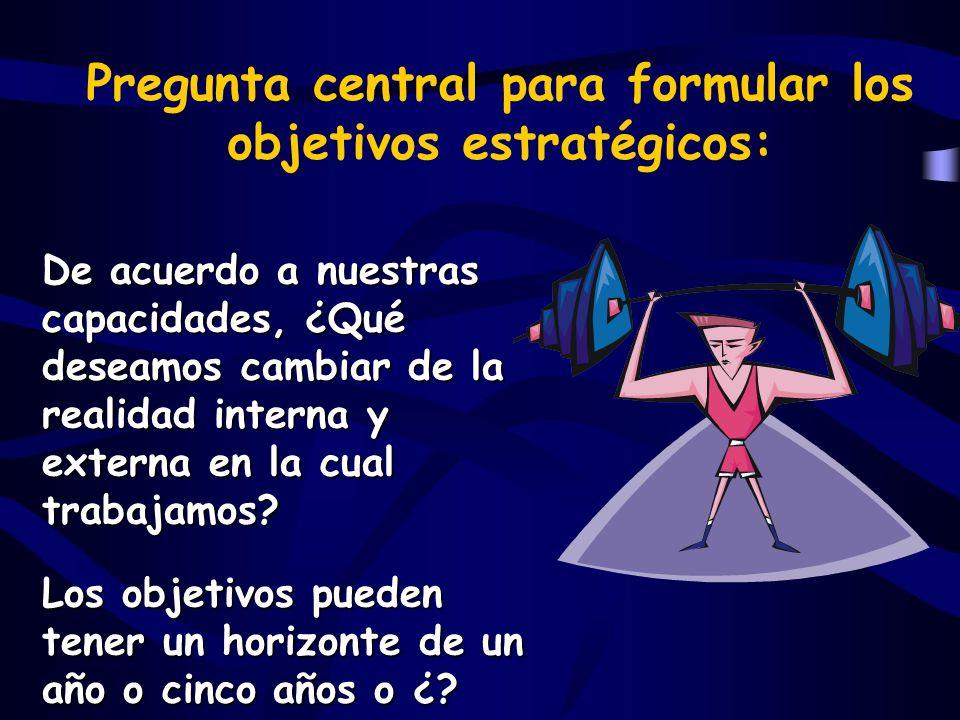 Pregunta central para formular los objetivos estratégicos: De acuerdo a nuestras capacidades, ¿Qué deseamos cambiar de la realidad interna y externa en la cual trabajamos.