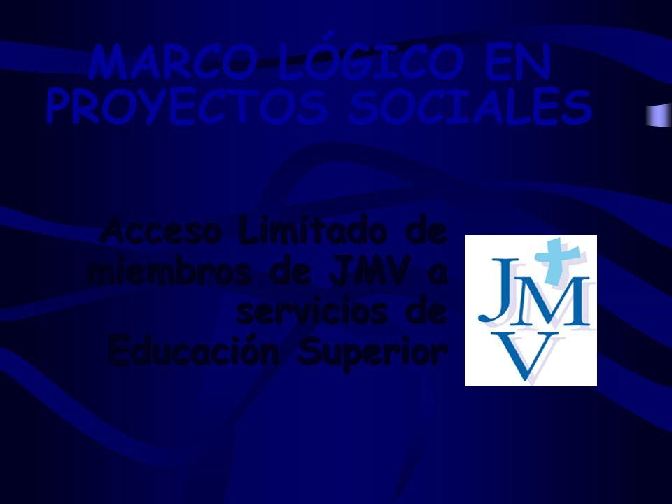 MARCO LÓGICO EN PROYECTOS SOCIALES Acceso Limitado de miembros de JMV a servicios de Educación Superior