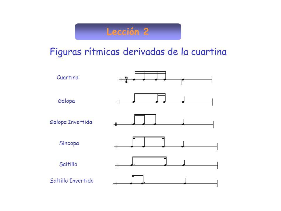 Lección 2 Figuras rítmicas derivadas de la cuartina Cuartina Galopa Galopa Invertida Síncopa Saltillo Saltillo Invertido