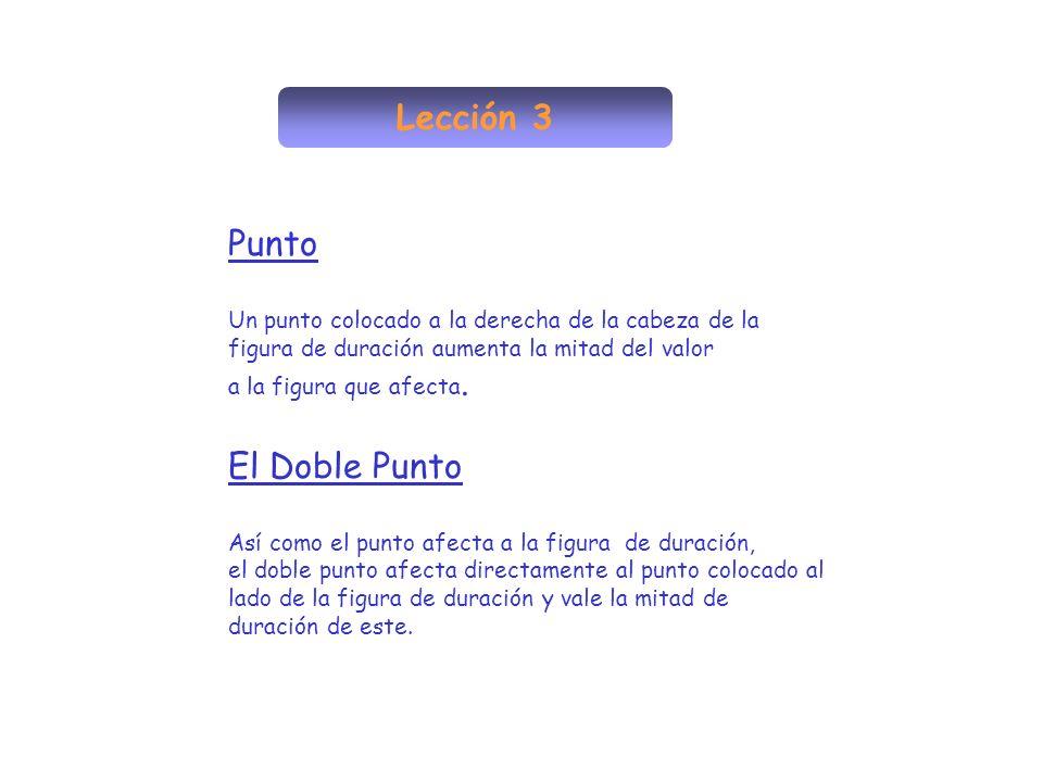 Lección 3 Punto Un punto colocado a la derecha de la cabeza de la figura de duración aumenta la mitad del valor a la figura que afecta. El Doble Punto