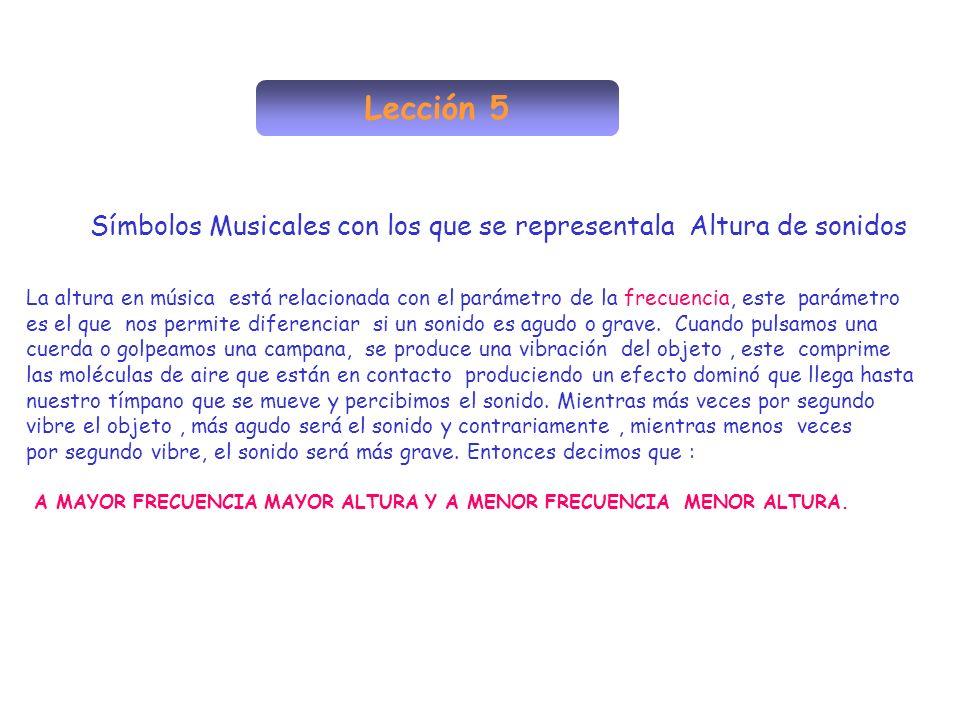 Lección 5 Símbolos Musicales con los que se representala Altura de sonidos La altura en música está relacionada con el parámetro de la frecuencia, est