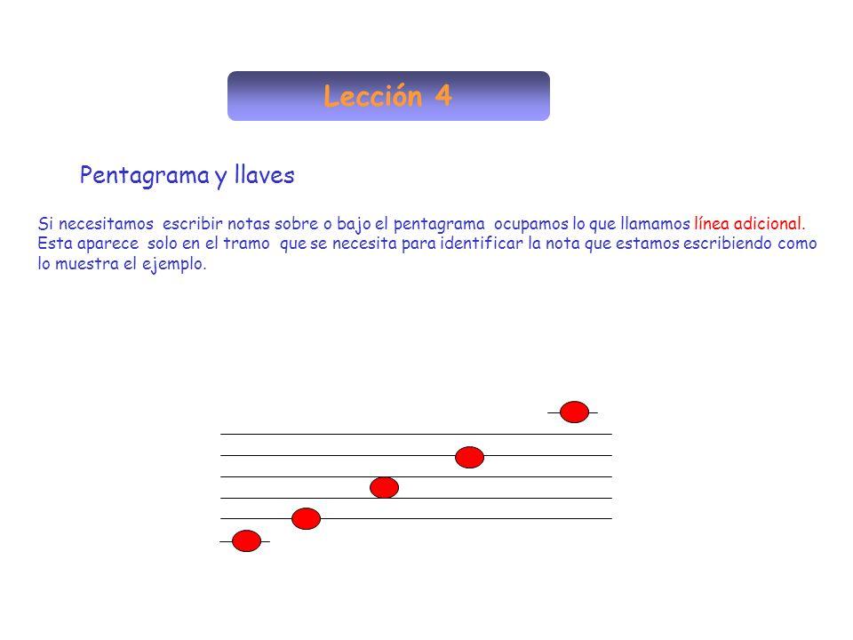 Lección 4 Pentagrama y llaves Si necesitamos escribir notas sobre o bajo el pentagrama ocupamos lo que llamamos línea adicional. Esta aparece solo en