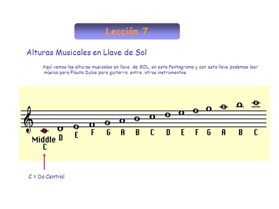 Lección 7 Alturas Musicales en Llave de Sol Aquí vemos las alturas musicales en llave de SOL, en este Pentagrama y con esta llave podemos leer música