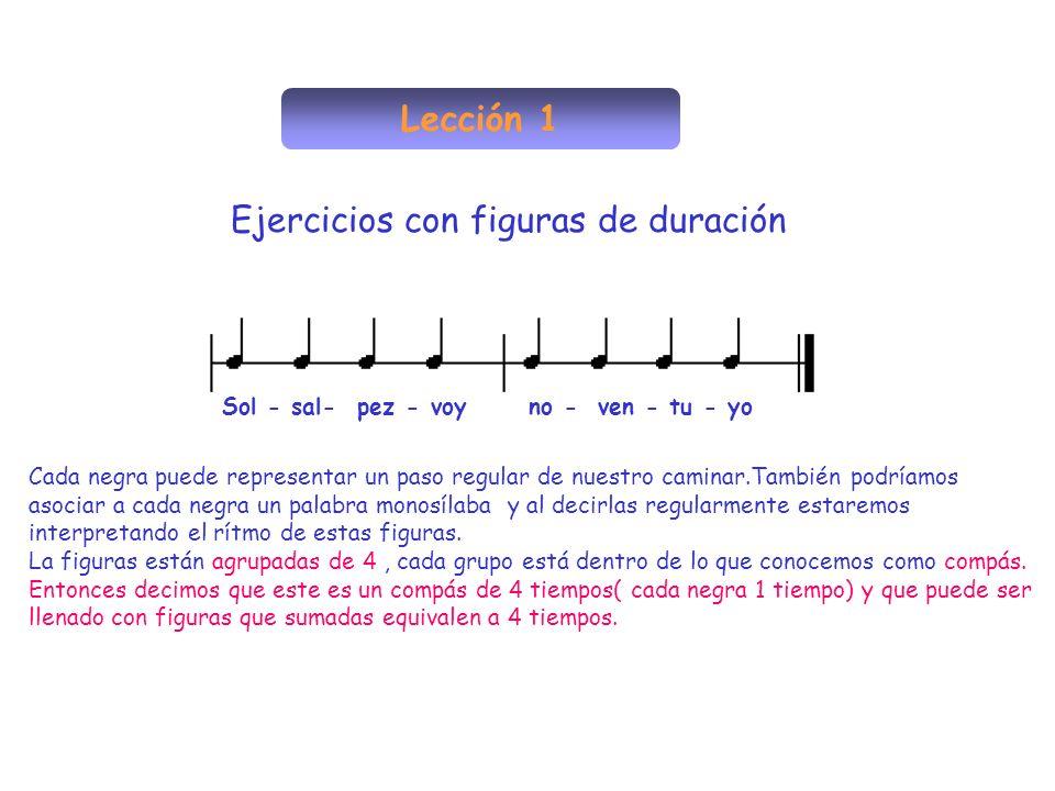 Lección 1 Ejercicios con figuras de duración Cada negra puede representar un paso regular de nuestro caminar.También podríamos asociar a cada negra un