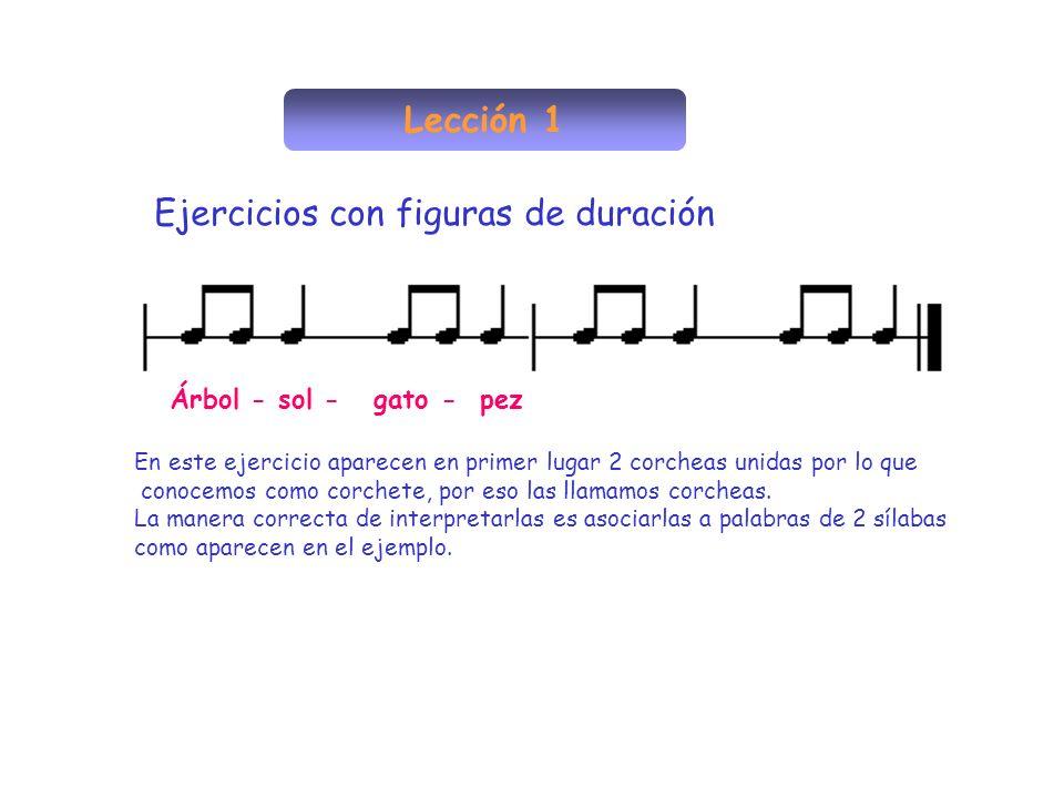 Lección 1 Ejercicios con figuras de duración En este ejercicio aparecen en primer lugar 2 corcheas unidas por lo que conocemos como corchete, por eso