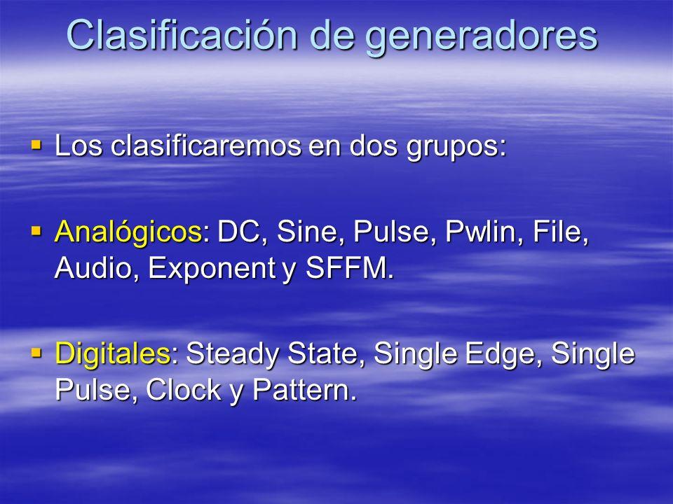 Clasificación de generadores Los clasificaremos en dos grupos: Los clasificaremos en dos grupos: Analógicos: DC, Sine, Pulse, Pwlin, File, Audio, Exponent y SFFM.