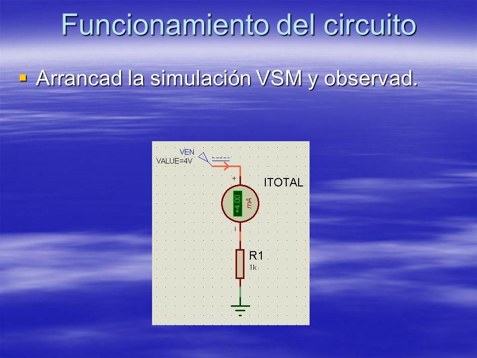 Funcionamiento del circuito Arrancad la simulación VSM y observad.
