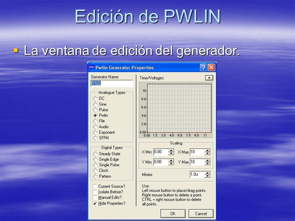 Edición de PWLIN La ventana de edición del generador. La ventana de edición del generador.