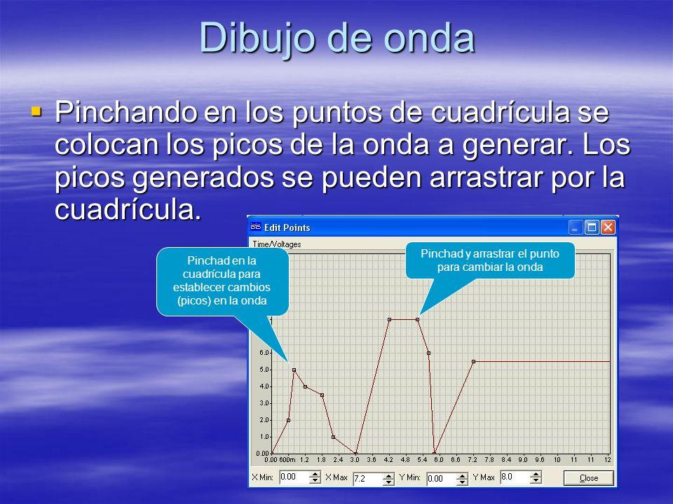 Dibujo de onda Pinchando en los puntos de cuadrícula se colocan los picos de la onda a generar.