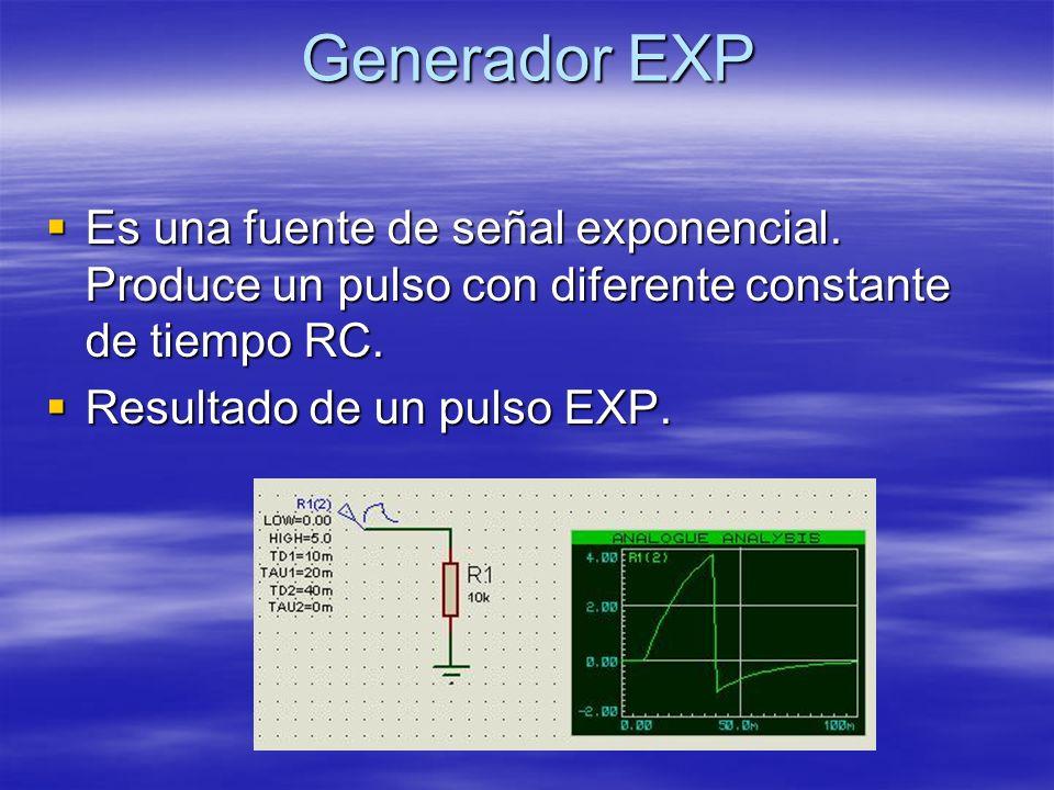 Generador EXP Es una fuente de señal exponencial.