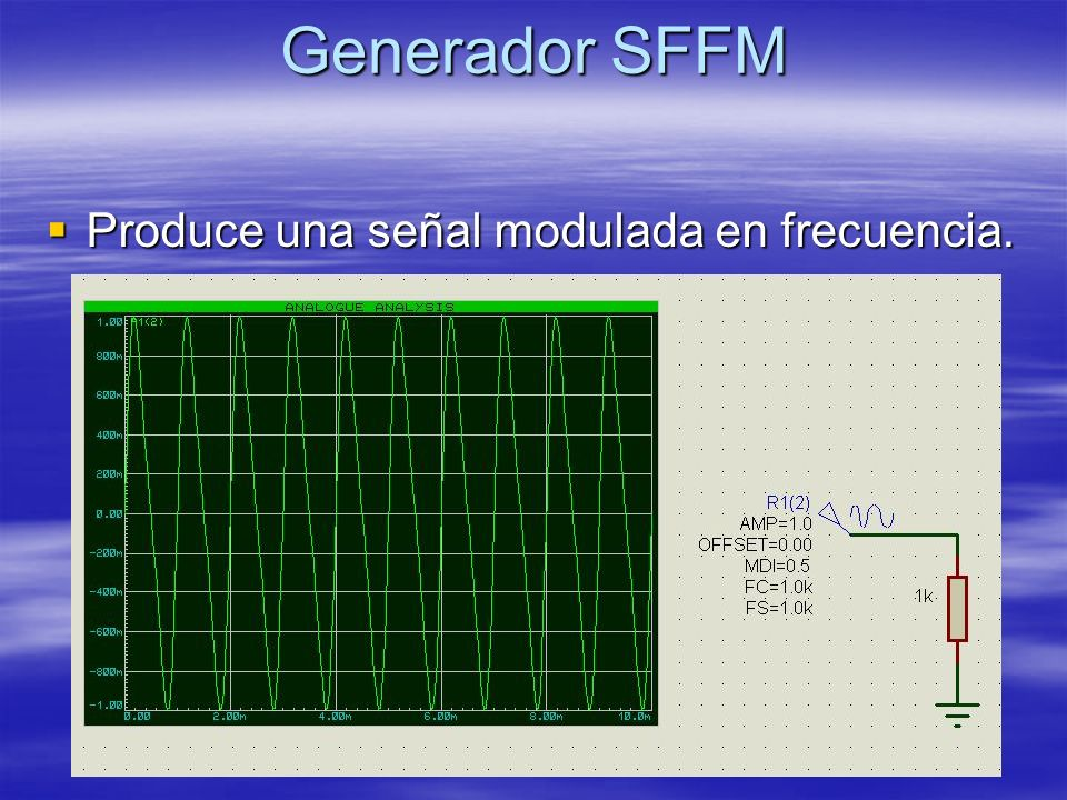 Generador SFFM Produce una señal modulada en frecuencia. Produce una señal modulada en frecuencia.