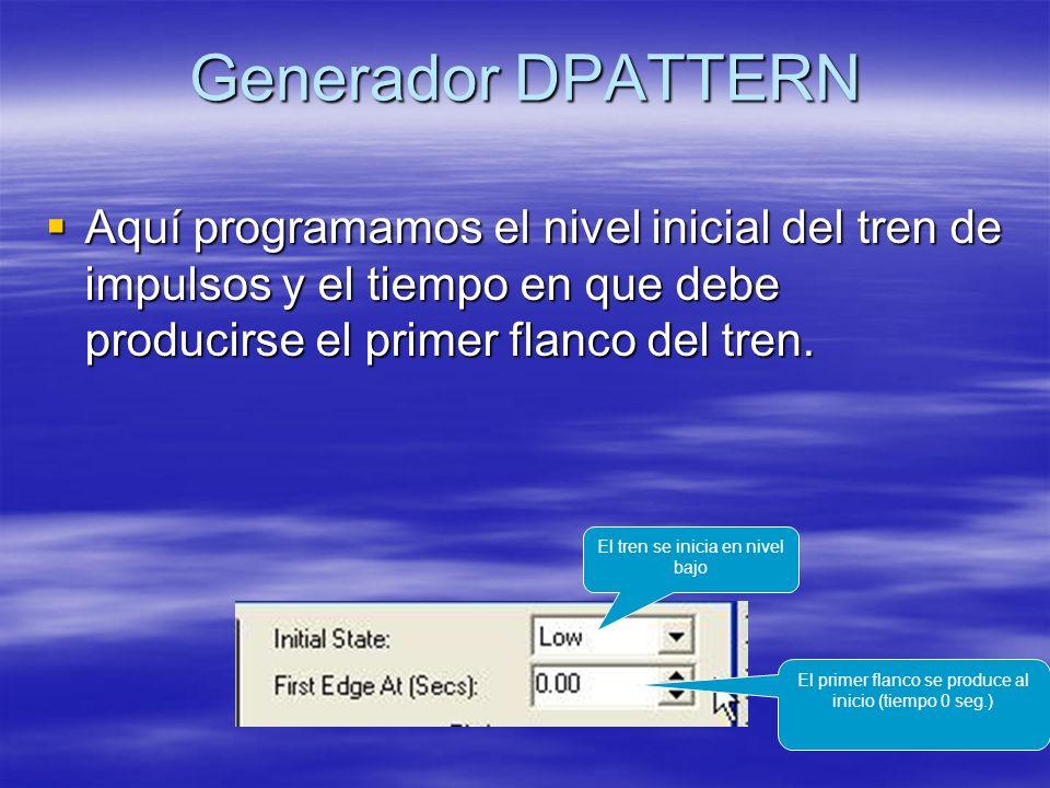 Generador DPATTERN Aquí programamos el nivel inicial del tren de impulsos y el tiempo en que debe producirse el primer flanco del tren.