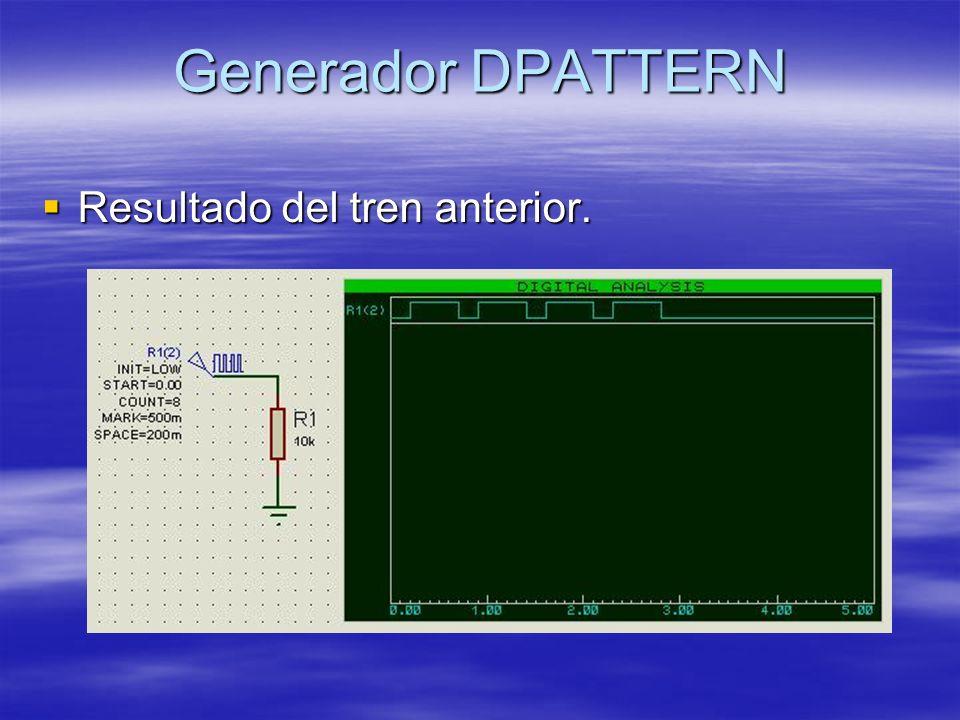 Generador DPATTERN Resultado del tren anterior. Resultado del tren anterior.