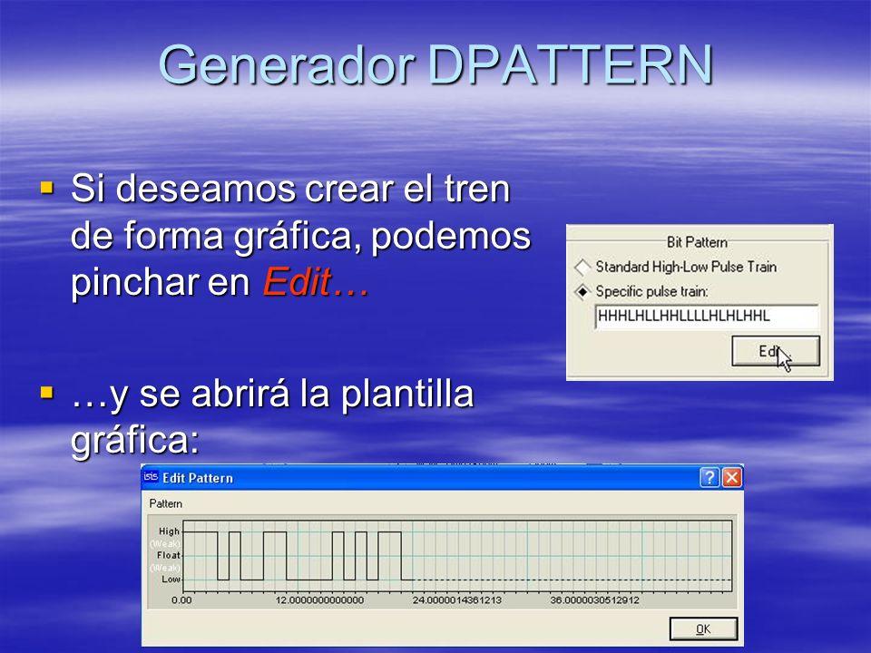 Generador DPATTERN Si deseamos crear el tren de forma gráfica, podemos pinchar en Edit… Si deseamos crear el tren de forma gráfica, podemos pinchar en Edit… …y se abrirá la plantilla gráfica: …y se abrirá la plantilla gráfica: