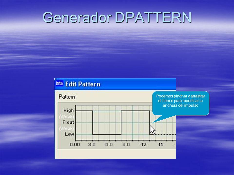 Generador DPATTERN Podemos pinchar y arrastrar el flanco para modificar la anchura del impulso