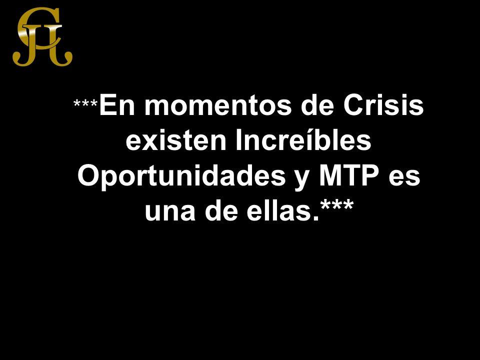 *** En momentos de Crisis existen Increíbles Oportunidades y MTP es una de ellas.***