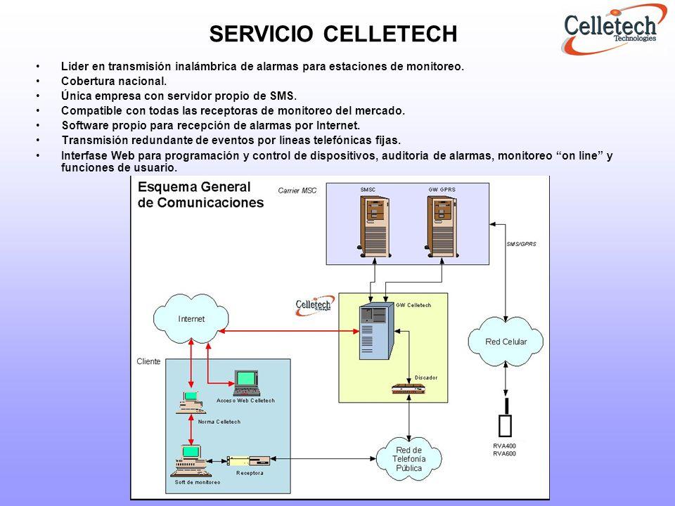 RECEPTOR CELLETECH (RC-IP) Sistema Celletech (Emulación Norma) Este receptor actúa como enlace entre el GateWay de Celletech y el software de monitoreo de la Estación Central.