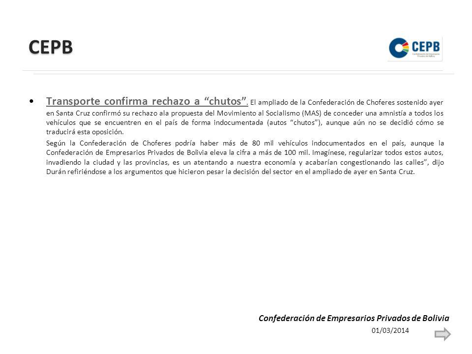 CEPB Transporte confirma rechazo a chutos. El ampliado de la Confederación de Choferes sostenido ayer en Santa Cruz confirmó su rechazo ala propuesta