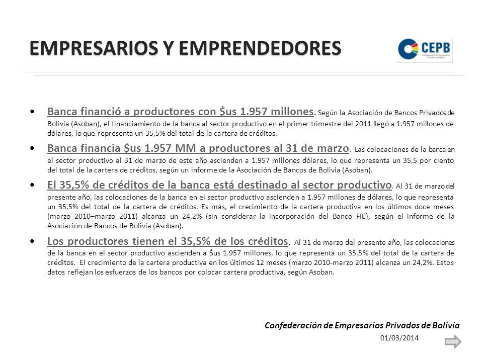 EMPRESARIOS Y EMPRENDEDORES Banca financió a productores con $us 1.957 millones.