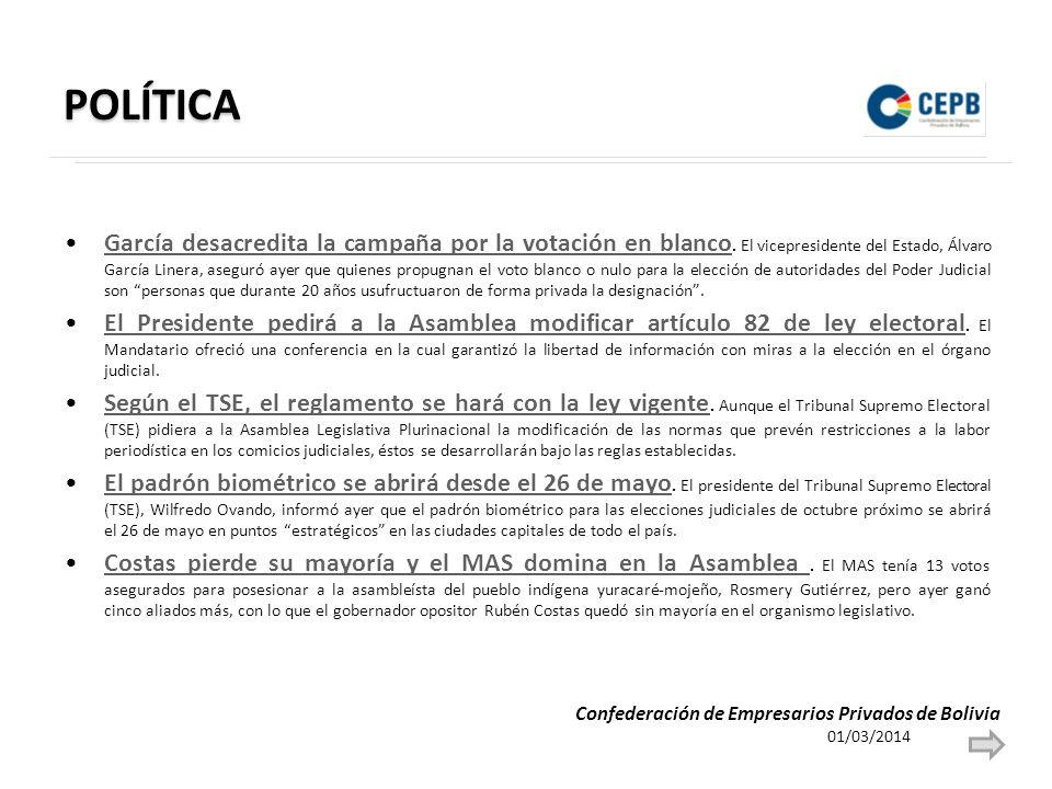 POLÍTICA García desacredita la campaña por la votación en blanco.