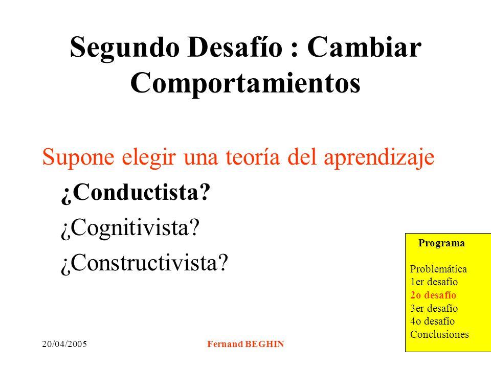 20/04/2005Fernand BEGHIN Segundo Desafío : Cambiar Comportamientos Supone elegir una teoría del aprendizaje ¿Conductista.