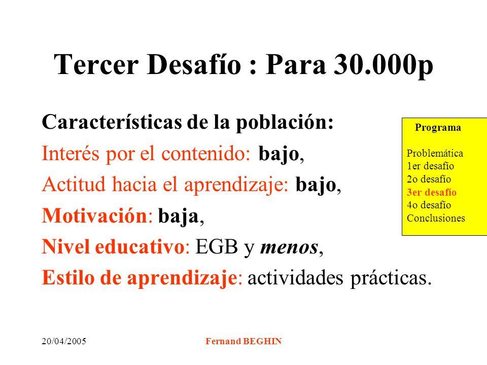 20/04/2005Fernand BEGHIN Tercer Desafío : Para 30.000p Características de la población: Interés por el contenido: bajo, Actitud hacia el aprendizaje: bajo, Motivación: baja, Nivel educativo: EGB y menos, Estilo de aprendizaje: actividades prácticas.