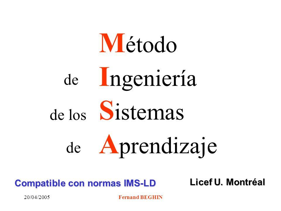 20/04/2005Fernand BEGHIN M étodo I ngeniería S istemas A prendizaje de de los de Licef U.