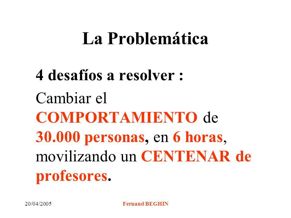 20/04/2005Fernand BEGHIN La Problemática 4 desafíos a resolver : Cambiar el COMPORTAMIENTO de 30.000 personas, en 6 horas, movilizando un CENTENAR de profesores.
