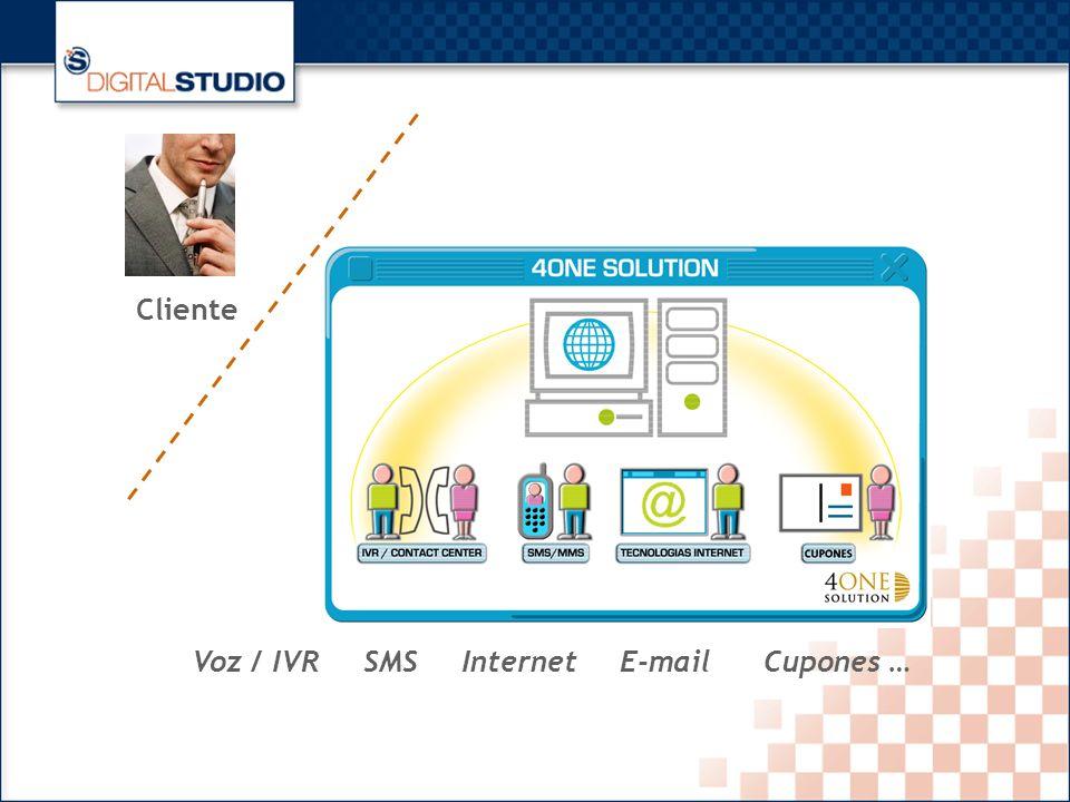 12 Voz / IVR SMS Internet E-mail Cupones … Cliente