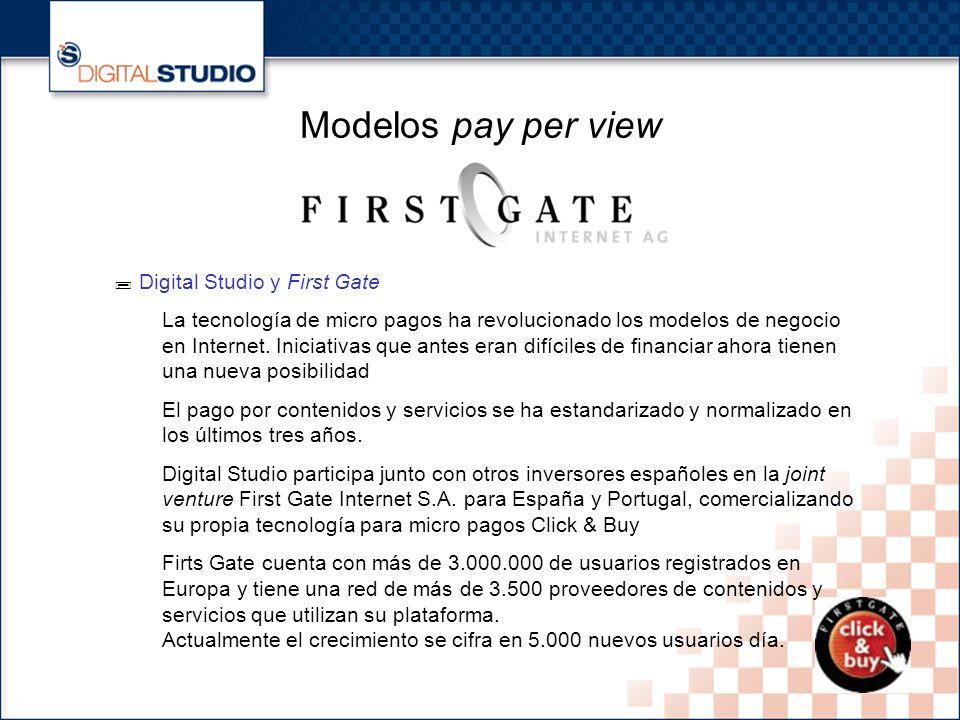 20 Modelos pay per view Digital Studio y First Gate La tecnología de micro pagos ha revolucionado los modelos de negocio en Internet.