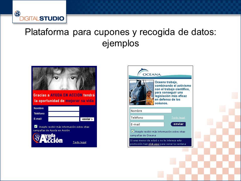 34 Plataforma para cupones y recogida de datos: ejemplos