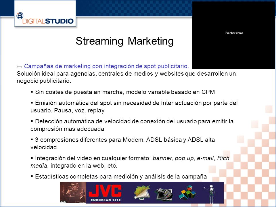 9 Streaming Marketing Campañas de marketing con integración de spot publicitario.