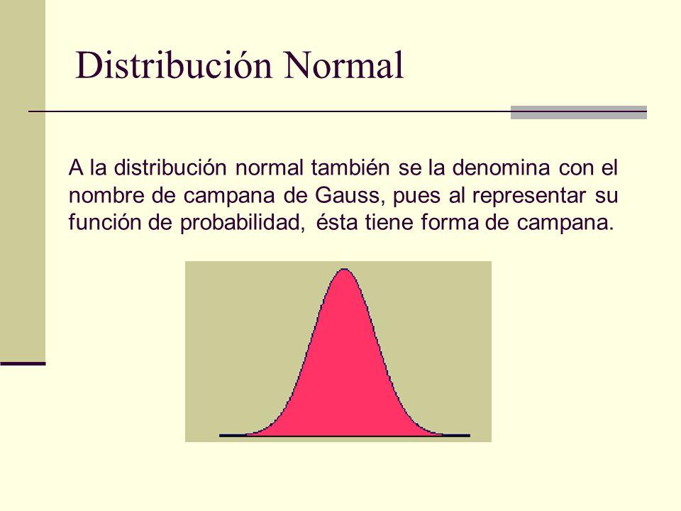 A la distribución normal también se la denomina con el nombre de campana de Gauss, pues al representar su función de probabilidad, ésta tiene forma de