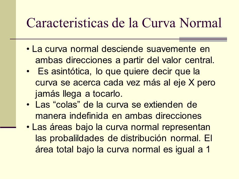 Caracteristicas de la Curva Normal La curva normal desciende suavemente en ambas direcciones a partir del valor central. Es asintótica, lo que quiere