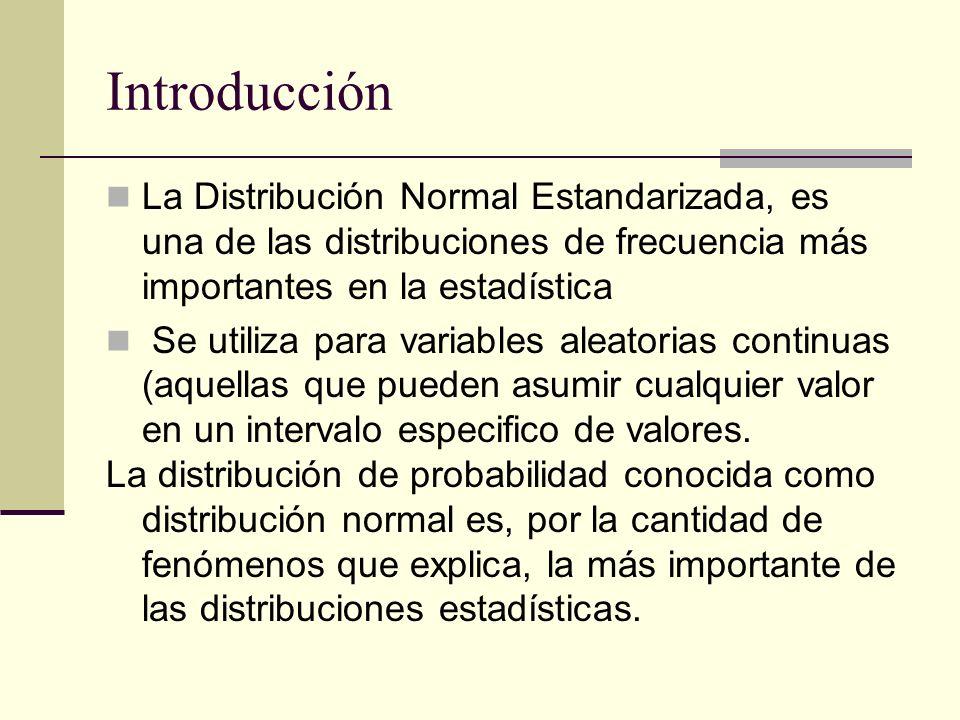 Introducción La Distribución Normal Estandarizada, es una de las distribuciones de frecuencia más importantes en la estadística Se utiliza para variab