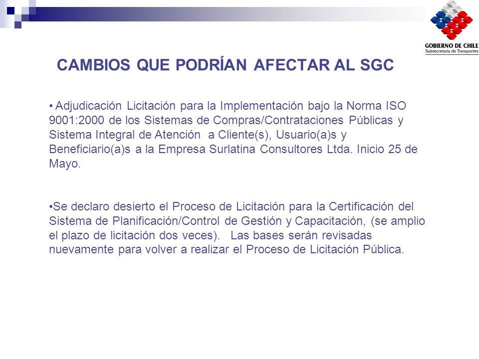 CAMBIOS QUE PODRÍAN AFECTAR AL SGC Adjudicación Licitación para la Implementación bajo la Norma ISO 9001:2000 de los Sistemas de Compras/Contratacione